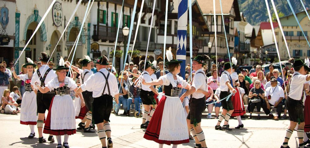 Dancers revel around the maypole in the town square during Maifest, a German celebration celebrating the arrival of spring. The 2019 festival will be held Saturday and Sunday, May 11-12. (Photo courtesy of Icicle TV)