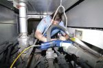The need for replacing fleet vehicles in Rockford, Ill., had become so substantial that choosing to lease became a necessity. The city had backup vehicles for each of its front-line vehicles since they were unreliable and frequently needed repair. Pictured is Dave DeCarlo working on a fire engine prior to the city choosing to lease. (Photo provided by the city of Rockford, Ill.)