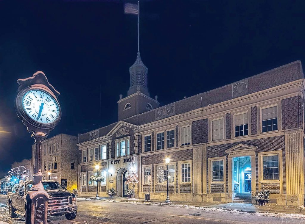 This nighttime shot of Hartford, Wis., shows the downtown area, including city hall. Hartford is located about 35 miles north of Milwaukee, Wis. (Photo provided)
