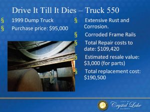 Using the example of a 1999 dump truck, the city of Crystal Lake, Ill., chose to begin leasing its fleet vehicles. Having purchased the dump truck for $95,000, the estimated resale value was only $3,000 due to extensive rust and corrosion. It would cost $190,500 to replace the dump truck after the city had already spent $109,420 repairing the truck. Leasing became the most costefficient option as opposed to spending more money repairing a vehicle. (Photo provided by the city of Crystal Lake, Ill.)