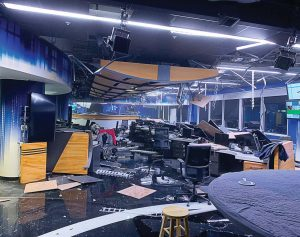 Earthquake damage to KTVA's newsroom in Anchorage resulted in zero deaths and minimal structural damage. (Photo provided)