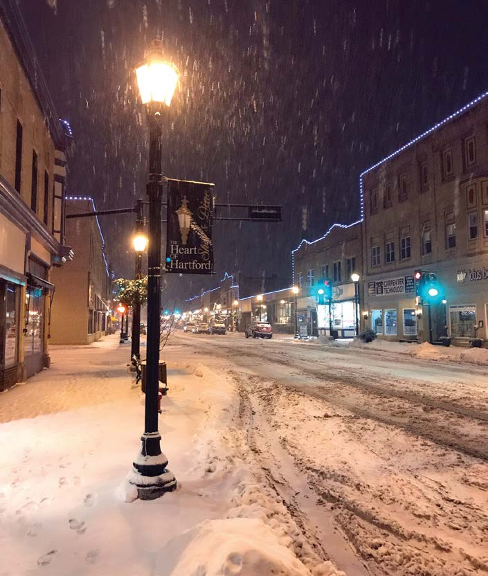 The city of Hartford, Wis., is blanketed in several inches of snow from a winter storm in January. Snowstorms are one of the natural disasters that the Midwestern city has to be prepared for in the winter months. (Photo provided)
