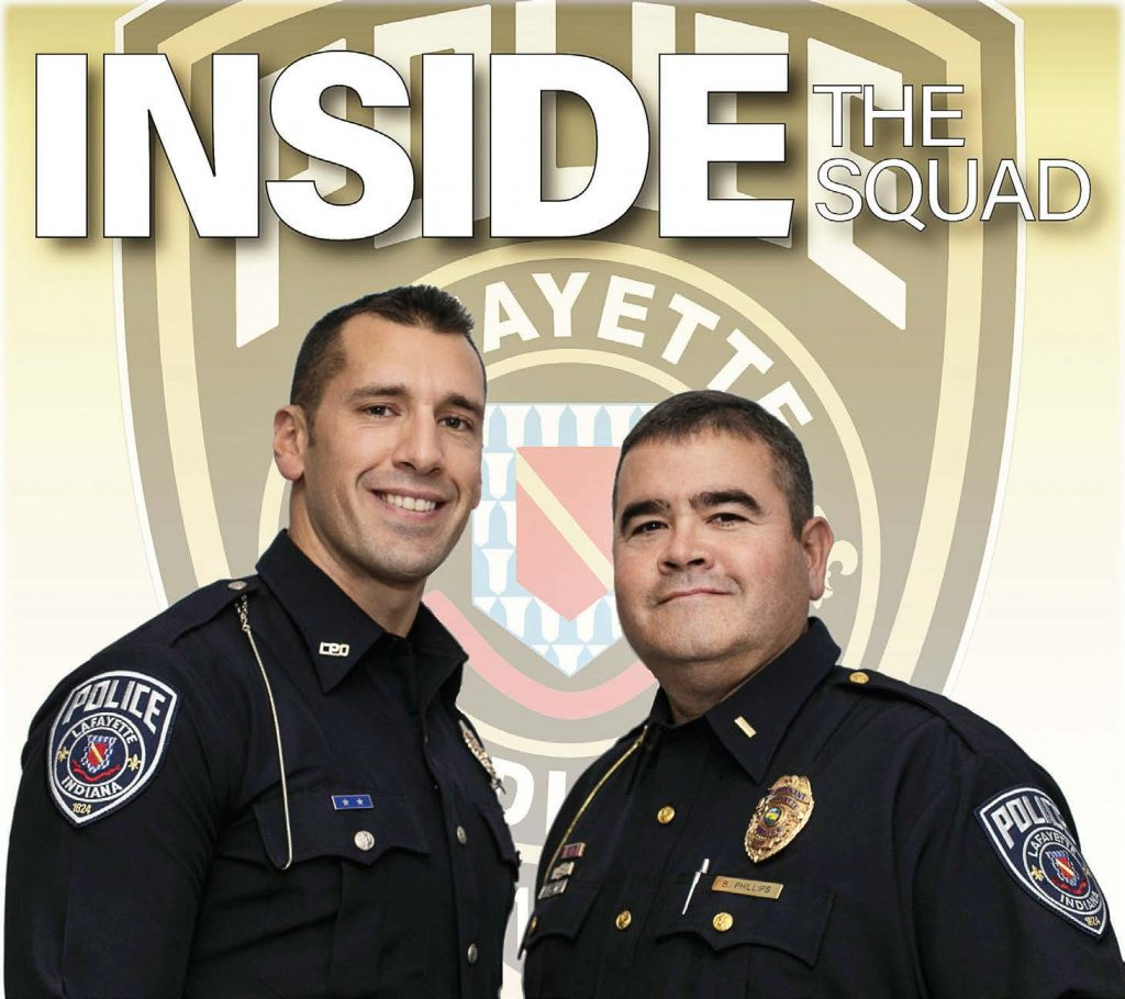 "The ""Inside The Squad"" graphic shows Specialist Ian O'Shields, left, and Lt. Brian Phillips who are the current hosts of the podcast. They focus on connecting with the public and promoting public safety. (Photo provided by the city of Lafayette, Ind.)"