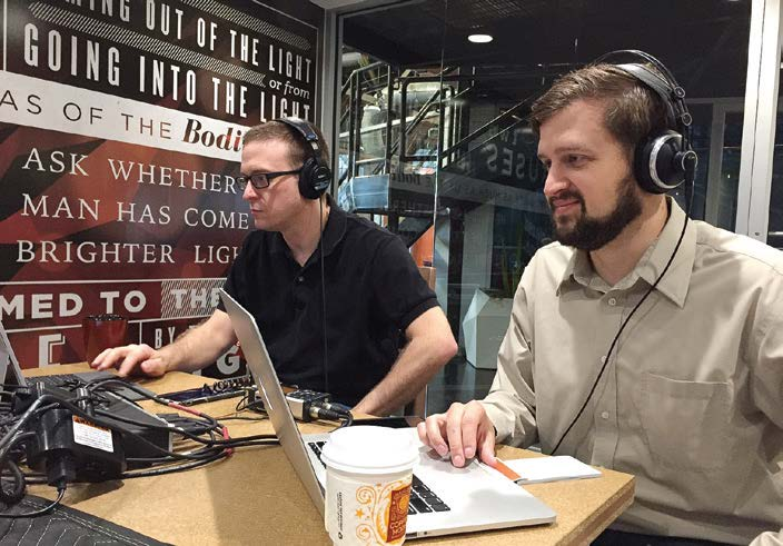"Tom Melville, left, and Alan Schwab are the current producers of the ""Inside the Squad"" podcast. They are civilian personnel who work as specialists and administrators in IT (Photo provided by the city of Lafayette, Ind.)"