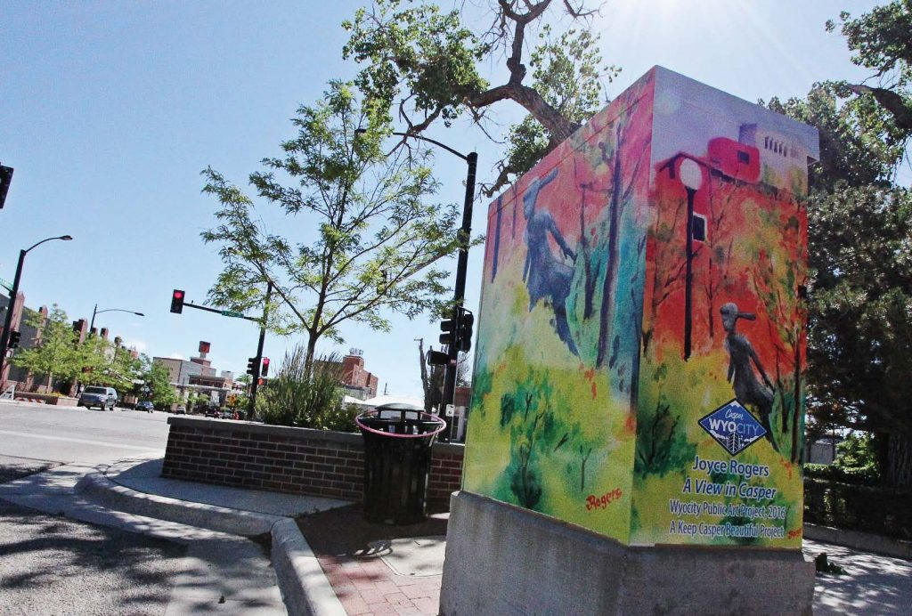 The traffic signal cabinet wraps in Casper, Wyo., credit the artist's name, but paying artists and making the process easier will draw in more submissions. (Photo provided)