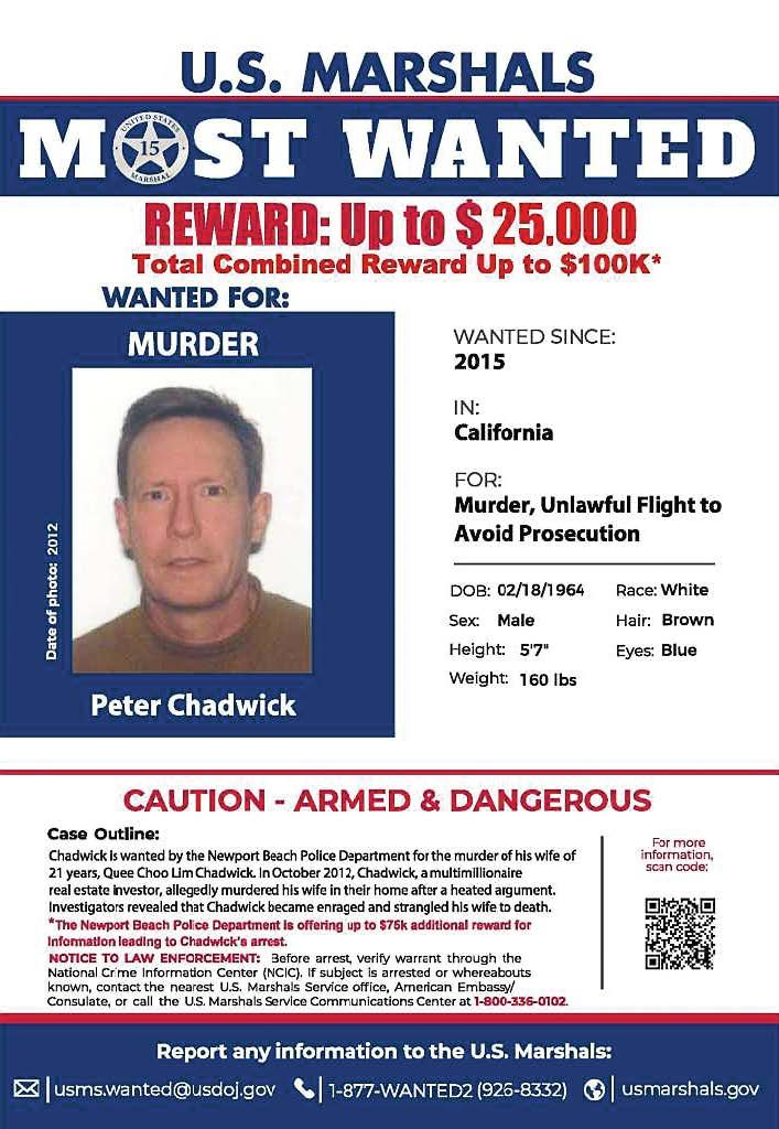 Through the podcast, the Newport Beach Police Department and all of the partnering agencies have been able to reach out internationally in an attempt to bring Peter Chadwick to justice after fleeing before facing his trial. (Photo provided by the Newport Beach Police Department)