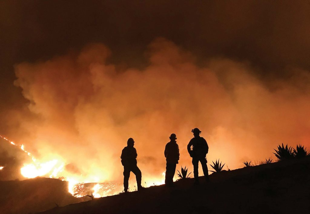 The Thomas Fire in Ventura, Calif., was, until 2018's fi res, the largest California wildfi re, encompassing roughly 281,000 acres and moving one acre per minute with 80 mph winds. (Photo provided)