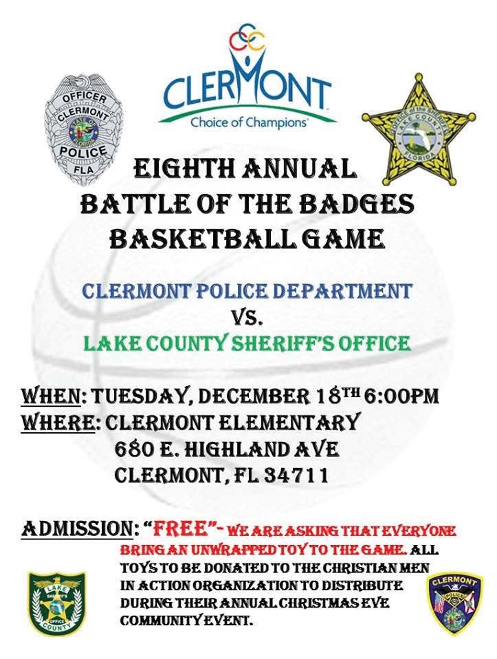 Pictured is Clermont, Fla.'s, poster for the 2018 Battle of the Badges basketball game. (Photo provided)