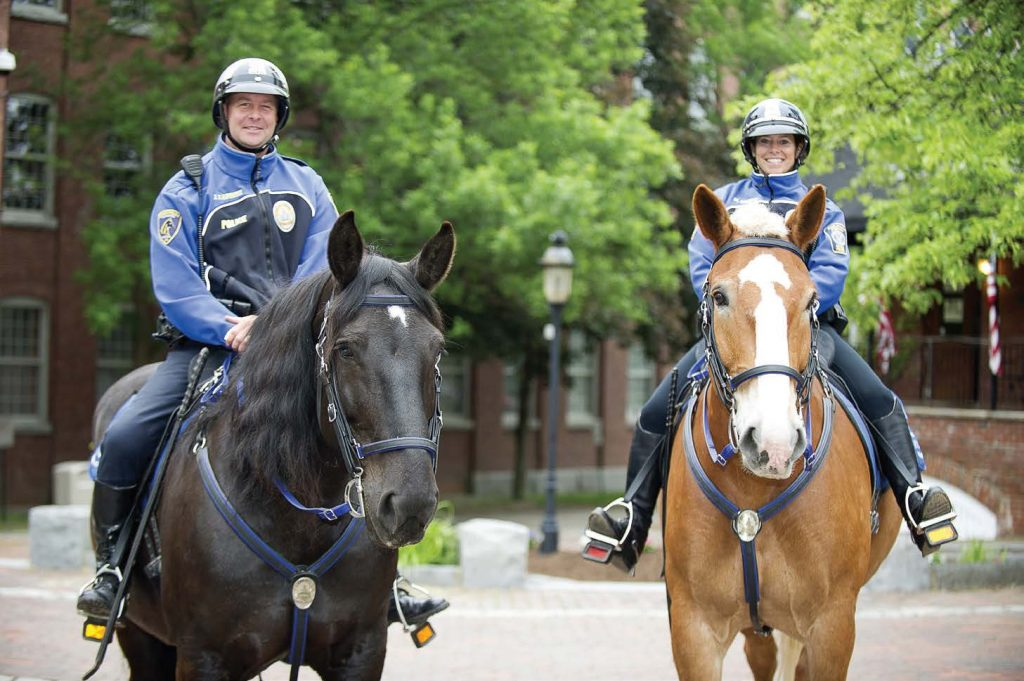 Officers Joe Caproni and Michelle Murch of the Dover Mounted Police pose with their horses. Caproni is on Rasa, a Percheron-cross and the first mare in the department, and Murch rides CJ, a Belgian gelding. (Photo provided)