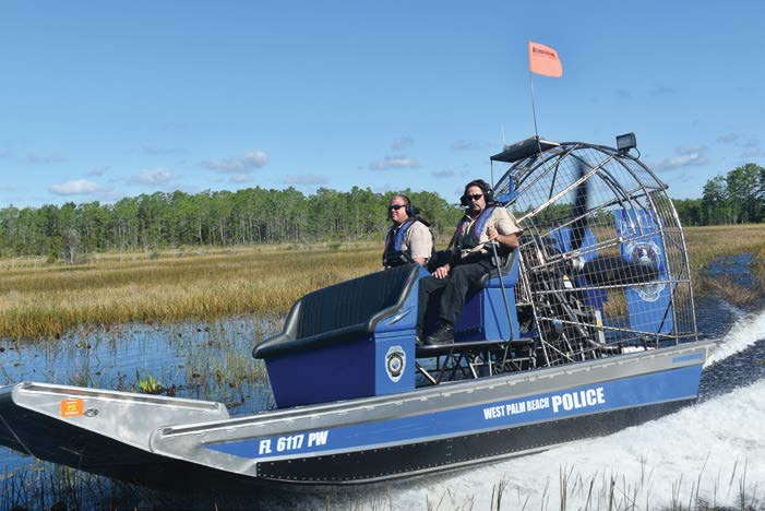 In Florida, West Palm Beach Police Department's airboat is used to patrol waterways. (Photo provided)