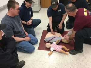 Wilton firefighters take part in the annual CPR training session. As fire chief, Cutler has emphasized the free training, opportunities for advancement and the noble profession of firefighting. (Photo provided)