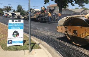 Santa Maria Public Works employees pave a street as part of the city's efforts to better grade and maintain its roads. (Photo provided)