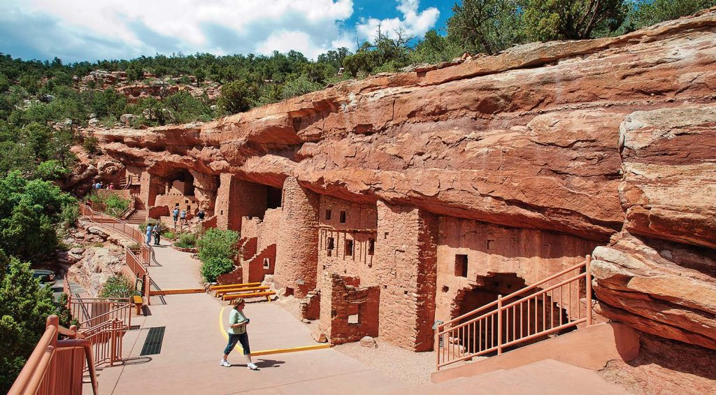 A walkway and handrailings were installed to provide safe exploration of the cliff dwellings. The rooms themselves are not wheelchair-accessible, but wheelchair-bound visitors are admitted free to the site.